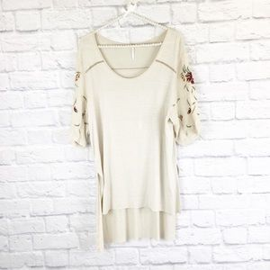 Free People high low embroidered top / tunic S